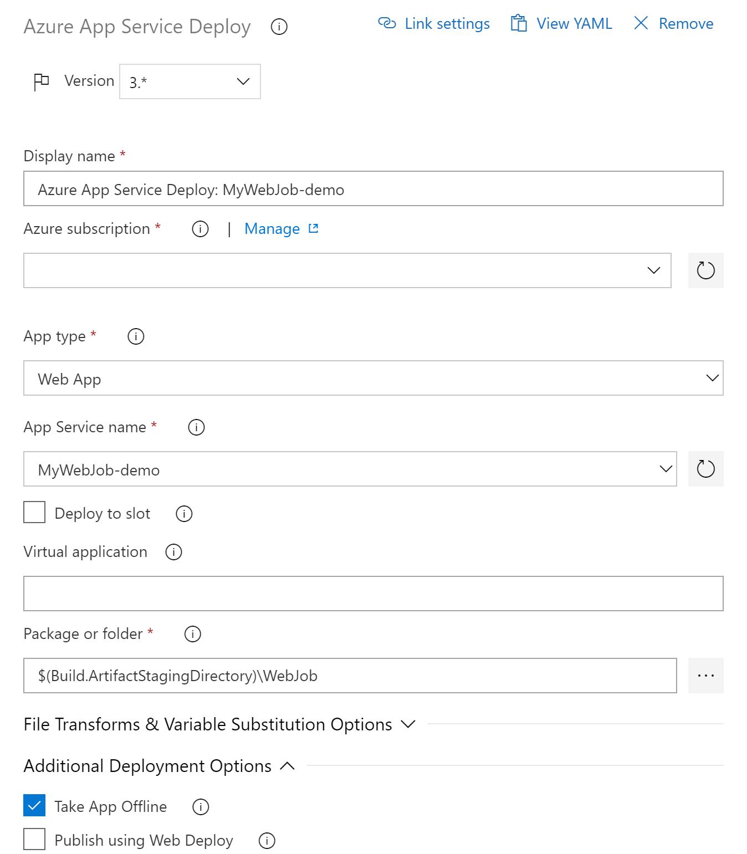 Deploying  NET Core WebJobs to Azure using Azure Pipelines