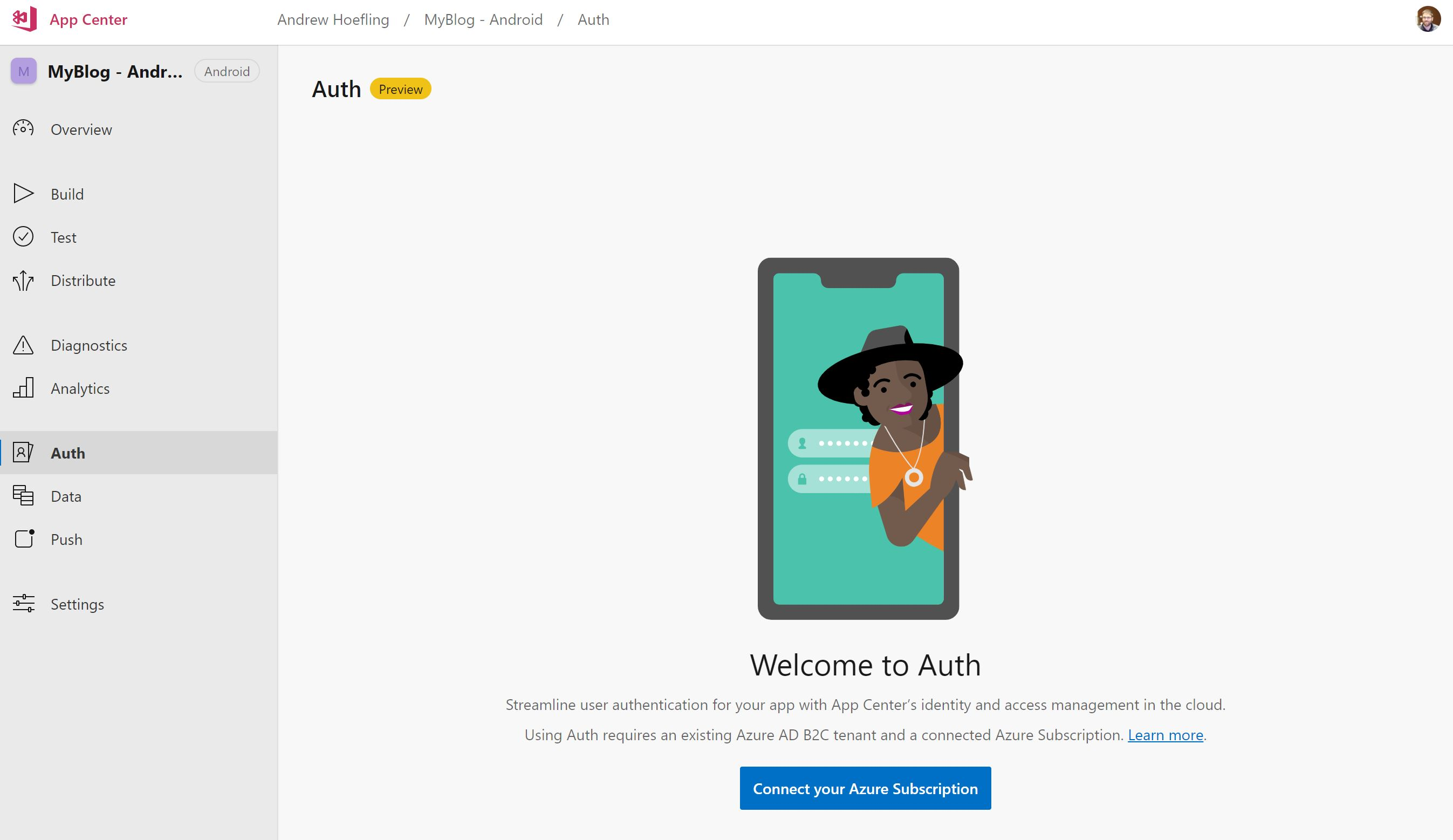 AppCenter: Data, Auth and Push